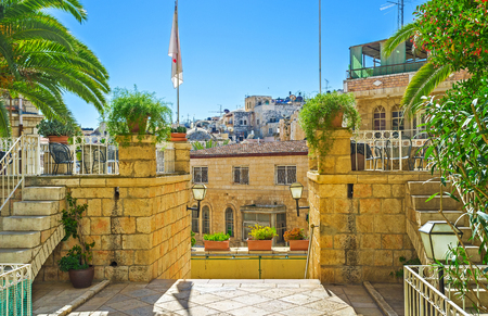 The green plants are the best decoration for the mansions in old stone town, Jerusalem, Israel.