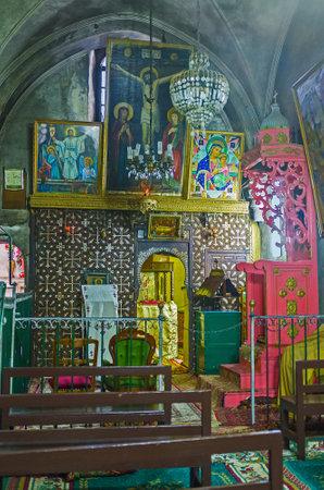 coptic orthodox: JERUSALEM, ISRAEL - FEBRUARY 16, 2016: The prayer hall of the church of Ethiopian Monastery, located on the roof of the Church of the Holy Sepulchre, on February 16 in Jerusalem.