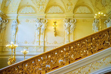 telamon: ODESSA, UKRAINE - MAY 17, 2015: The staircases of the Opera Theatre are decorated with beautiful handrails, on May 17 in Odessa.