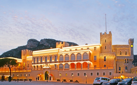 The medieval Princes Palace in the Palace Square in Monaco-Ville is one of the main city landmarks, located in the oldest ward, on the famous Rock of Monaco. Stock Photo