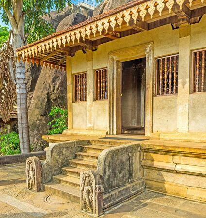 The entrance to the old Rock Temple of Isurumuniya in Anuradhapura, Sri Lanka.