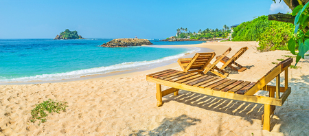 devils garden: Midigama beach offers nice opportunities to relax and enjoy vacation on the South coast of Sri Lanka. Stock Photo
