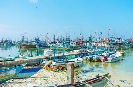 MIRISSA, SRI LANKA - DECEMBER 3, 2016: The fisheries harbor is the main landmark of the small coastal town, on December 3 in Mirissa.