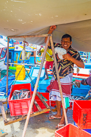 fischerei: MIRISSA, SRI LANKA - DECEMBER 3, 2016: The laughing fisherman poses during weighing the catch at the fisheries harbor, on December 3 in Mirissa. Editorial