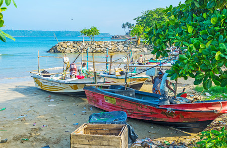 trawler net: GALLE, SRI LANKA - DECEMBER 3, 2016: The small fishing harbor next to the old walled town, on December 3 in Galle.