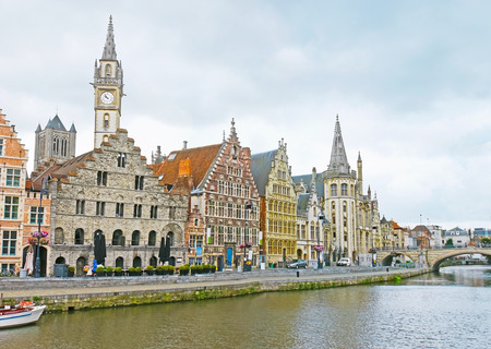 The medieval Graslei Quay of Leie River with its scenic guild houses is the visit card of Ghent, Belgium.