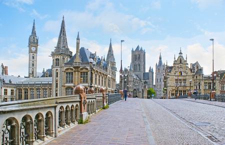 belfort: The Sint-Michielsbrug bridge is the nice place to enjoy the landmarks of Ghent, such as medieval mansions, St Nicholas Church and Belfort van Gent (Belfry), Belgium. Stock Photo