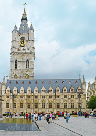 GHENT, BELGIUM - MAY 26, 2011: The historic building of the Belfort van Gent (Belfry), located at the Sint-Baafsplein Square, on May 26 in Ghent.