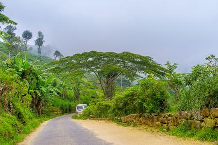 The main road that runs to the Sir Thomas Lipton Tea Factory, Haputale, Sri Lanka Stock Photo