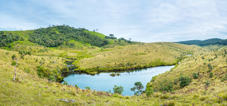 The small river Belihuloya runs through Horton Plains plateau and becomes a big river in lowland in Sri Lanka Stock Photo