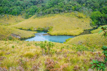 plains indian: The small river Belihuloya bends between hills in Horton Plains Park, Sri Lanka