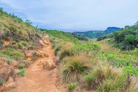plains indian: The way between main landmarks of Horton Plains runs through the rocky highlands, Sri Lanka Stock Photo