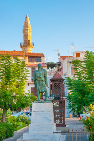RETHYMNO, GREECE - OCTOBER 15, 2013: The statue of Creten hero  Konstantin Giaboudakis located in small park in old town, on October 15 in Rethymno
