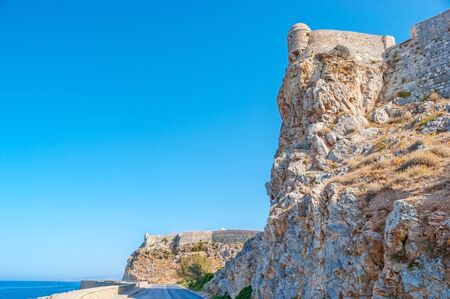 The view on rocky slopes with Venenian citadel on the top, Rethymno, Greece Reklamní fotografie