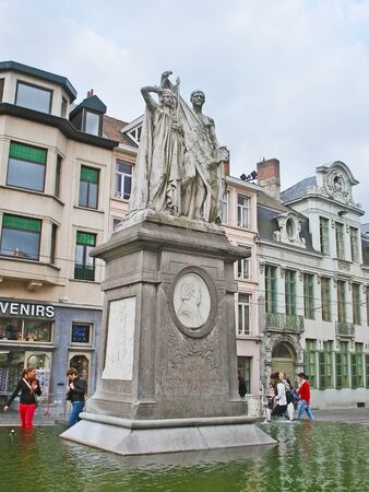 frans: GHENT, BELGIUM - MAY 26, 2011: The monument to Jan Frans Willems surrounded by fountain and located at Sint-Baafsplein Square, on May 26 in Ghent. Editorial