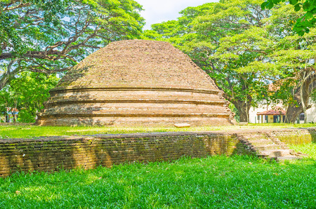 vihara: The Panduwasnuwara Archaeological  Museum boasts collection of antiquities and ancient brick Stupa in its garden, Sri Lanka.