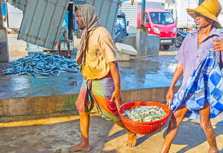 returned: NEGOMBO, SRI LANKA - NOVEMBER 25, 2016: Two fishermen, just returned from sea, carry the heavy basket with fresh fish to the Main Fish Market, on November 25 in Negombo. Editorial