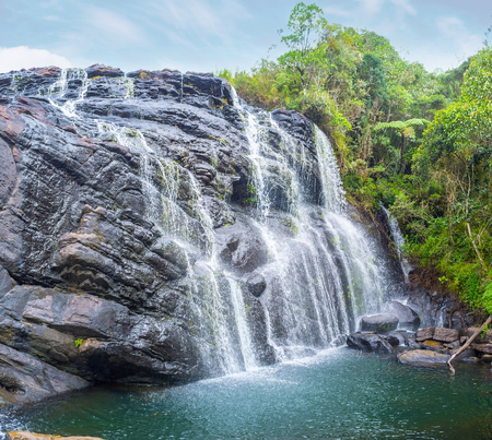 plains indian: The Bakers Falls is the biggest waterfall in Horton Plains Park and is the most popular place for rest, Sri Lanka Stock Photo