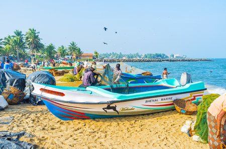 NEGOMBO, SRI LANKA - NOVEMBER 25, 2016: The fishermen at work from the early morning, everyday they go to the sea to sale their catch at local market, on November 25 in Negombo.