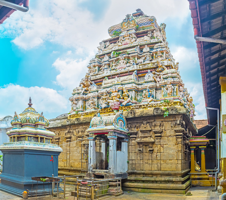 dome of hindu temple: The dome of old Hindu Temple in Munneswaram traditionally decorated with numerous sculptures of Gods, Sri Lanka.