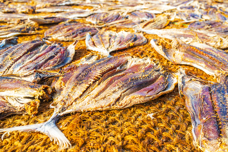The sundry is the oldest tradition to preserve fish, its widespread in Sri Lankan coastal districts, Negombo. Stock Photo