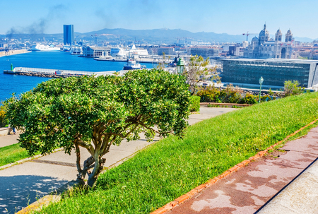 civilisations: The walk along embankment at Emile Duclaux Park, overlooking such the city landmarks, as Fos Port, Major Cathedral, Museum of European and Mediterranean Civilisations, Marseille, France.