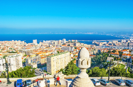 The Carmel Mount is the best citys viewpoint, overlooking old and modern districts, port and coast of Marseille, France.