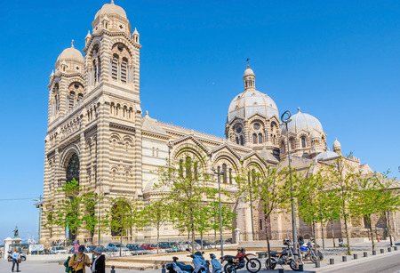 MARSEILLE, FRANCE - MAY 4, 2013: The Major Square is historic site for the city cathedrals, here locate huge Nouvelle Major Cathedral and Vieille Major Cathedral, still standing alongside, on May 4 in Marseille.