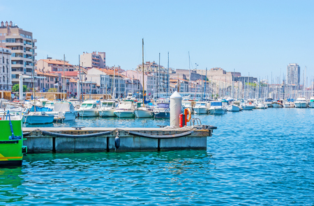 saint nicolas: The Vieux Port is the best place for the daily walks, relax in local cafe, visit fish market, or take the boat trip, Marseille, France.
