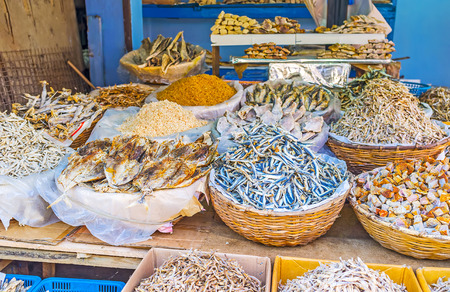 The Manning Market in Pettah offers wide range of the salted dried fish and seafood, such as shredded squids, Colombo, Sri Lanka.