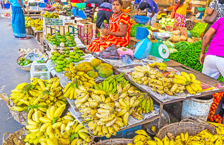 COLOMBO, SRI LANKA - DECEMBER 6, 2016: The Fose Market in Pettah is the place of tourist interest, the wide range of exotic fruits and vegetables and trading traditions make this place popular among foreigners, on December 6 in Colombo.