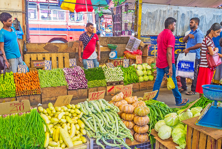 COLOMBO, SRI LANKA - DECEMBER 6, 2016: The vegetable row of Fose Market in Pettah, traders offer eggplants, snake gourds, cabbage, carrot, leeks, pampkins, bamia (okra), winged beans, onion and other foodstuffs, on December 6 in Colombo.