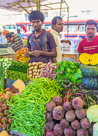 COLOMBO, SRI LANKA - DECEMBER 6, 2016: The vegetable shop of Fose agricultural market with wide range and excellent quality of goods, on December 6 in Colombo.