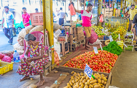 COLOMBO, SRI LANKA - DECEMBER 6, 2016: The covered Fose Market is the best place to buy fresh fruits and vegetables in Pettah neighborhood, on December 6 in Colombo. Editorial