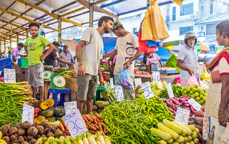 COLOMBO, SRI LANKA - DECEMBER 6, 2016: The best agricultural foodstuffs from local farmers can be found in Fose Market, on December 6 in Colombo. Editorial