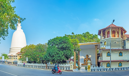 Panorama of the Sri Sambuddhaloka Viharaya Temple, one of the main landmarks of Fort district, located on the Lotus Road, Colombo, Sri Lanka. Stock Photo