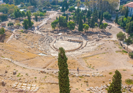 Ancient huge Theater of Dionysus nowadays lies in ruins, Athens, Greece Editorial