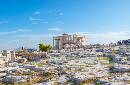 ATHENS, GREECE - OCTOBER 12, 2013: The view on ancient greek temple Erechtheion, located on Acropolis, on October 12 in Athens