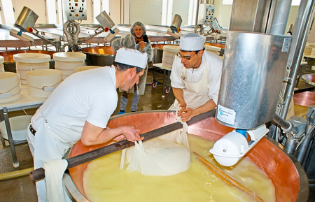 manufactory: PARMA, ITALY - APRIL 24, 2012: The complicated process of cheese making starts at fermenting manufactory, where milk transforms into curdled mass, Caseificio la Traversetolese parmesan factory, on April 24 in Parma. Editorial