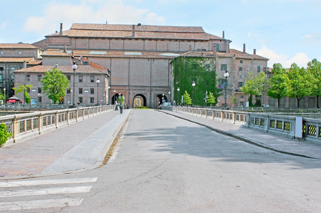 verdi: Giuseppe Verdi bridge across the Parma stream leads to the Pilotta Palace, large complex, including Farnese Theatre, National Gallery, Palatina Library and museums, Parma, Italy. Editorial