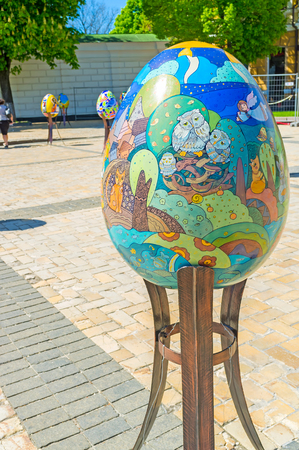 Beautiful Easter eggs are painted by artists from different regions of the country, Kiev, Ukraine