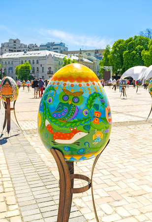 Characters from childrens fairy tales are embodied in pictures on Easter egss in Festival in Kiev, Ukraine