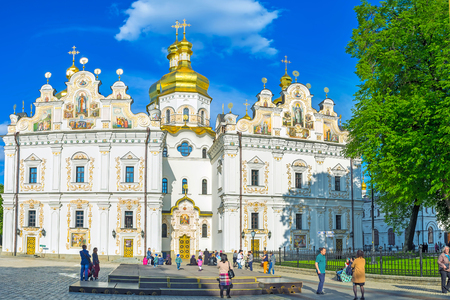 KIEV, UKRAINE - MAY 01, 2016: The Dormition Cathedral is the sacred place of the city, on May 1, in Kiev.