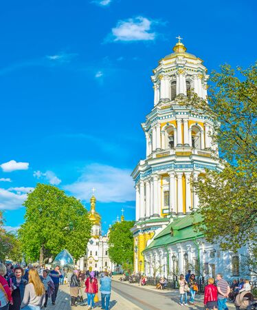 KIEV, UKRAINE - MAY 01, 2016: The Great Lavra Bell Tower is the most famous sacred building in the city, on May 1, in Kiev.