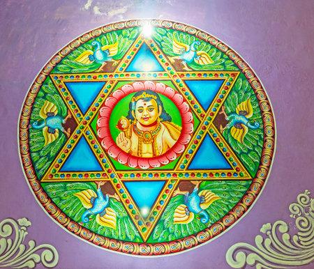 MATALE, SRI LANKA - NOVEMBER 27, 2016: The Skanda Yantra - hexagram with Lord Skanda (Murugan), surrounded by peacocks on ceiling of Muthumariamman Kovil - Tamil Hindu Temple, on November 27 in Matale.