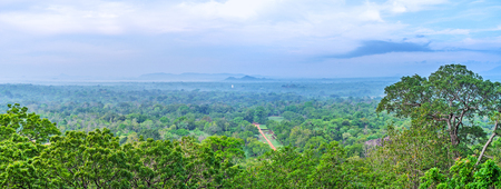 The aerial view of the Royal Gardens of Sigiriya from the Lions Rock, Sri Lanka. Stock Photo