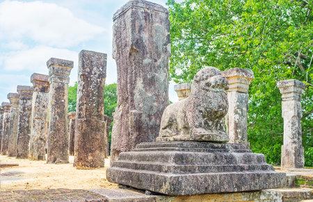 The stone lion at the entrance to the Kings Council Chamber of Nissanka Malla Palace, Polonnaruwa, Sri Lanka. Editorial