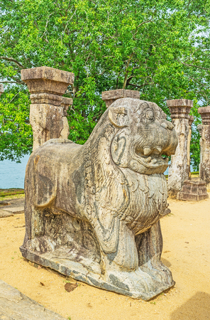 The Lions Throne in Kings Council Chamber  is one of the most interesting preserved details of Nissanka Malla Palace, Polonnaruwa, Sri Lanka.