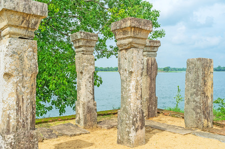 ancient lion: Polonnaruwa boasts preserved ancient city and scenic nature, Sri Lanka.