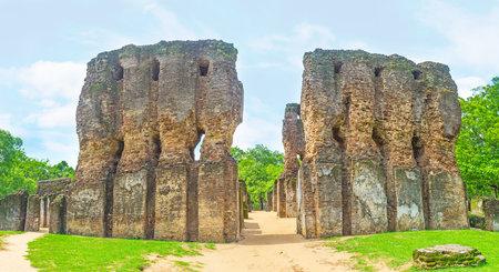 Panorama of the ruined Royal Palace of King Parakramabahu, surrounded by greenery, Polonnaruwa, Sri Lanka.